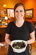 Nicolle Meadors, Server with Beet Salad at Open Door in Sisters Oregon