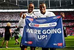Free to use courtesy of Sky Bet. Ryan Sessegnon and Steven Sessegnon celebrate as Fulham win the game 0-1 to win the Sky Bet Championship Play-Off Final and secure Promotion to the Premier League - Rogan/JMP - 26/05/2018 - FOOTBALL - Wembley Stadium - London, England - Aston Villa v Fulham - Sky Bet Championship Play-Off Final.