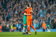 Toby Alderweireld (#4) celebrates with Hugo Lloris (#1) of Tottenham Hotspur FC at the final whistle of the Champions League quarter-final leg 2 of 2 match between Manchester City and Tottenham Hotspur at the Etihad Stadium, Manchester, England on 17 April 2019.