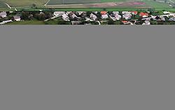 Small village in Gorenjska region from air, on September 21, 2005, Slovenia. (Photo by Vid Ponikvar / Sportal Images)