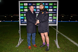 Luke Cowan-Dickie of Exeter Chiefs is presented the Heineken Man of the Match award - Mandatory by-line: Ryan Hiscott/JMP - 18/01/2020 - RUGBY - Sandy Park - Exeter, England - Exeter Chiefs v La Rochelle - Heineken Champions Cup