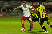 Sheffield United forward Billy Sharp wins the ball from Burton Albion defender Phil Edwards during the Sky Bet League 1 match between Burton Albion and Sheffield Utd at the Pirelli Stadium, Burton upon Trent, England on 29 September 2015. Photo by Aaron Lupton.