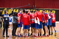 Players of Serbia during Handball friendly match before EURO 2018 between Slovenia and Serbia, on January 10, 2018 in Rdeca dvorana, Velenje, Slovenia. Photo by Urban Urbanc / Sportida