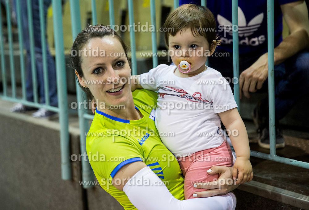 Katja Medved of Slovenia after Slovenia qualify for 2015 CEV Volleyball European Championship - Women during volleyball match between National Teams of Slovenia and France, on May 29, 2015 in Arena Tabor, Maribor, Slovenia. Photo by Vid Ponikvar / Sportida