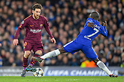 Barcelona forward Lionel Messi  (10) and Chelsea midfielder N'Golo Kante (7) during the Champions League match between Chelsea and Barcelona at Stamford Bridge, London, England on 20 February 2018. Picture by Martin Cole.