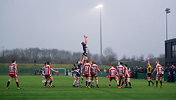 James Dun (c) (Millfield) of Bristol Rugby Academy U18 in the line-out - Mandatory by-line: Paul Knight/JMP - 11/02/2017 - RUGBY - SGS Wise Campus - Bristol, England - Bristol Academy v Gloucester Academy - Premiership Rugby Academy U18 League