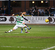 Dundee&rsquo;s Kane Hemmings fires a shot just wide despite the attnetion of Celtic's Erik Sviatchenko  - Dundee v Celtic, Ladbrokes Scottish Premiership at Dens Park<br />  <br />  - &copy; David Young - www.davidyoungphoto.co.uk - email: davidyoungphoto@gmail.com