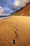 Footprints, Kalalau Beach, Napali Coast, Kauai, hawaii