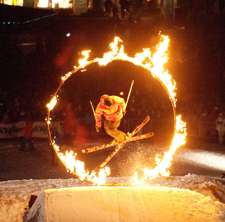 Whistler's Fire and Ice show.  The performers ski or snowboard though a flaming hoop amid pyrotechnic charges.  Whistler BC, Canada.