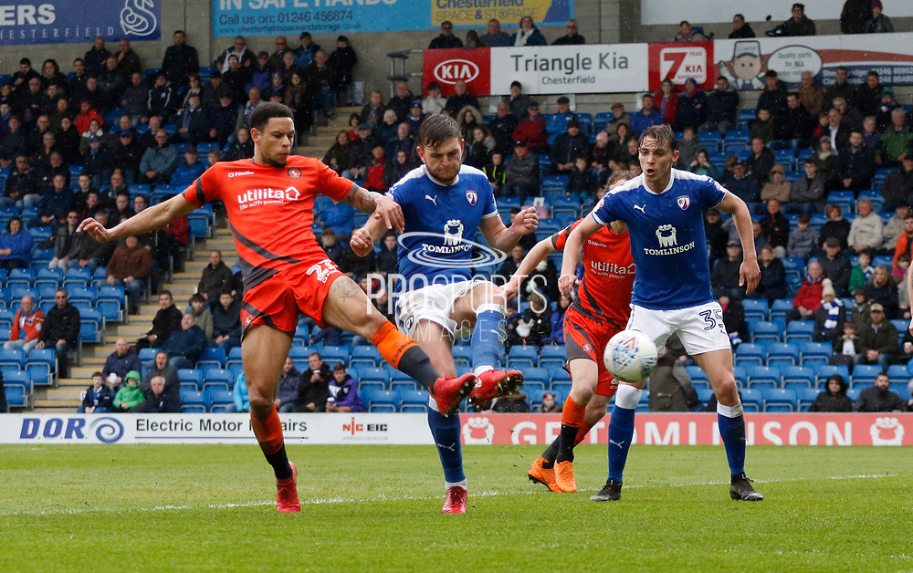 Goal scored by  Wycombe Wanderers Nathan Tyson(23) during the EFL Sky Bet League 2 match between Chesterfield and Wycombe Wanderers at the b2net stadium, Chesterfield, England on 28 April 2018. Picture by Paul Thompson.