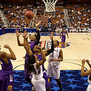 Jasmine Phillips, and  I'Tiana Taylor, East Carolina, rebound during the Temple Vs East Carolina Quarterfinal Basketball game during the American Athletics Conference Women's College Basketball Championships 2015 at Mohegan Sun Arena, Uncasville, Connecticut, USA. 7th March 2015. Photo Tim Clayton