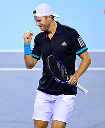 Great Britain's Dominic Inglot celebrates after winning the second set during day two of the Davis Cup match at Emirates Arena, Glasgow.