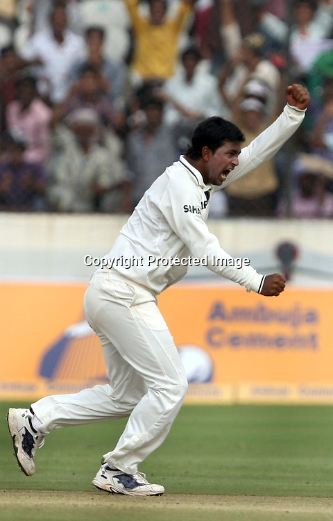Indian bowler Pragiyan Ojha celebrtaes New Zealand batsman Tim McIntosh wicket during the 2nd test match Indian vs New Zealand day-4 Played at Rajiv Gandhi International Stadium, Uppal, Hyderabad, 15 November 2010 (5-day match)