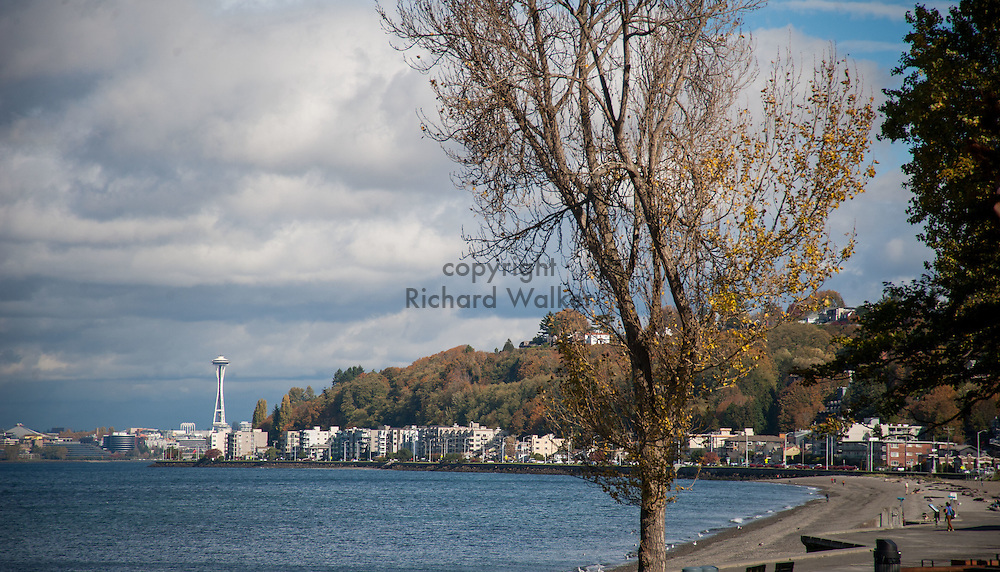 2016 October 18 - View apartments and homes along the shore at Alki, West Seattle, WA, USA. By Richard Walker