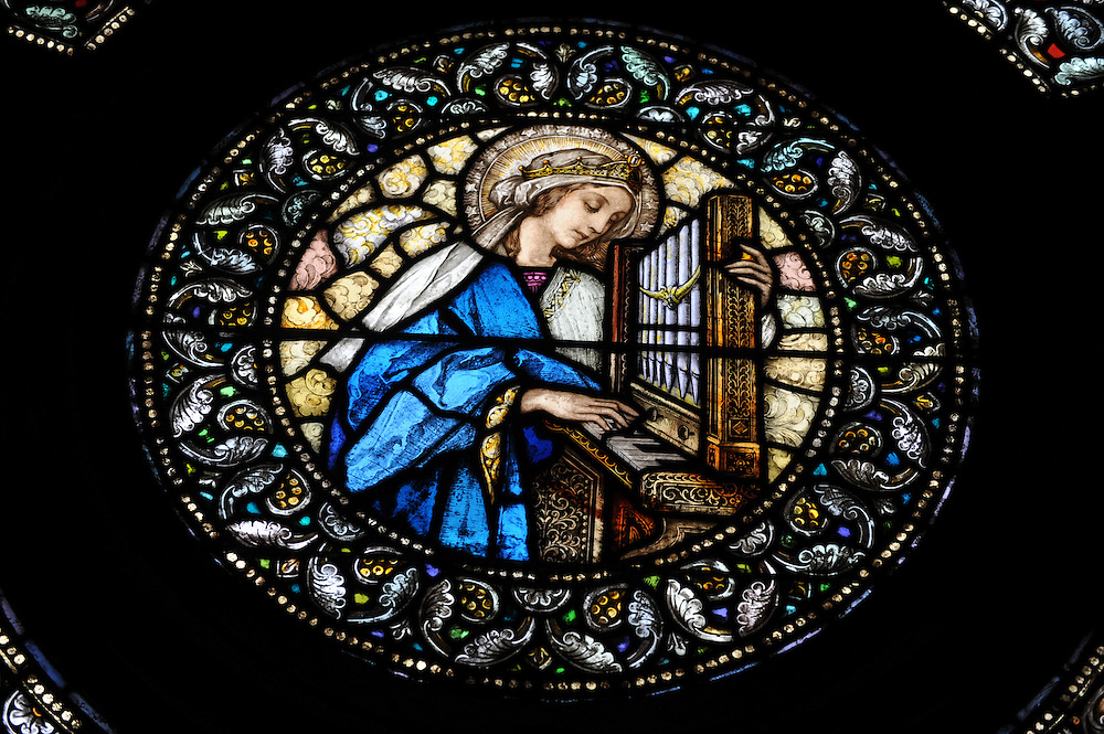 Stained glass image of St. Cecilia, patron saint of musicians, at Ss. Peter and Paul Church in Green Bay. (Sam Lucero photo)