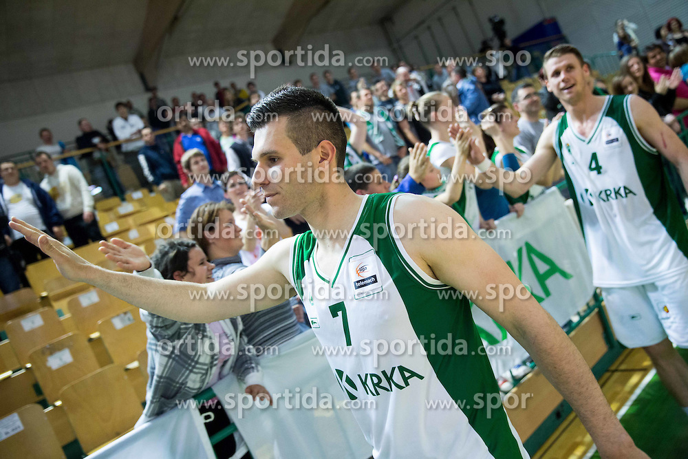 Sani Becirovic of Krka after winning during basketball match between KK Krka and KK Union Olimpija in 10th Round of Slovenian National Championship 2013/14, on April 28, 2014 in Dvorana Leona Stuklja, Novo mesto, Slovenia. Photo by Vid Ponikvar / Sportida