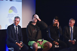 November 15, 2018 - London, England, United Kingdom - John Isner of the United States sits along side ATP Executive Chairman and President Chris Kemode (left) and ATP Player Council President Novak Djokovic of Serbia speak to the media during the Official Presentation of ATP Team Competition announcement during Day Five of the Nitto ATP Finals at The O2 Arena on November 15, 2018 in London, England. (Credit Image: © Alberto Pezzali/NurPhoto via ZUMA Press)