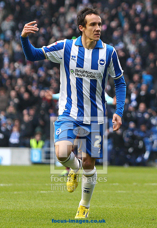 Picture by Paul Terry/Focus Images Ltd +44 7545 642257.23/02/2013.David Lopez of Brighton and Hove Albion celebrates after he scores the opening goal during the npower Championship match at the American Express Community Stadium, Brighton and Hove.