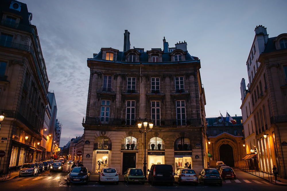 Place des Victoires at night, Paris