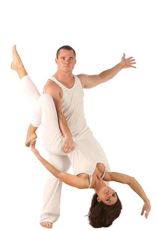Dance on white background in studio.