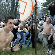 Sliipknot fans, or Maggots as they are known, storm through the yard of a West Des Moines, Iowa, home during filming of a video that the heavy metal band was producing.  Hundreds of volunteers took part in some of the scenes. The video was shot in March of 2004.