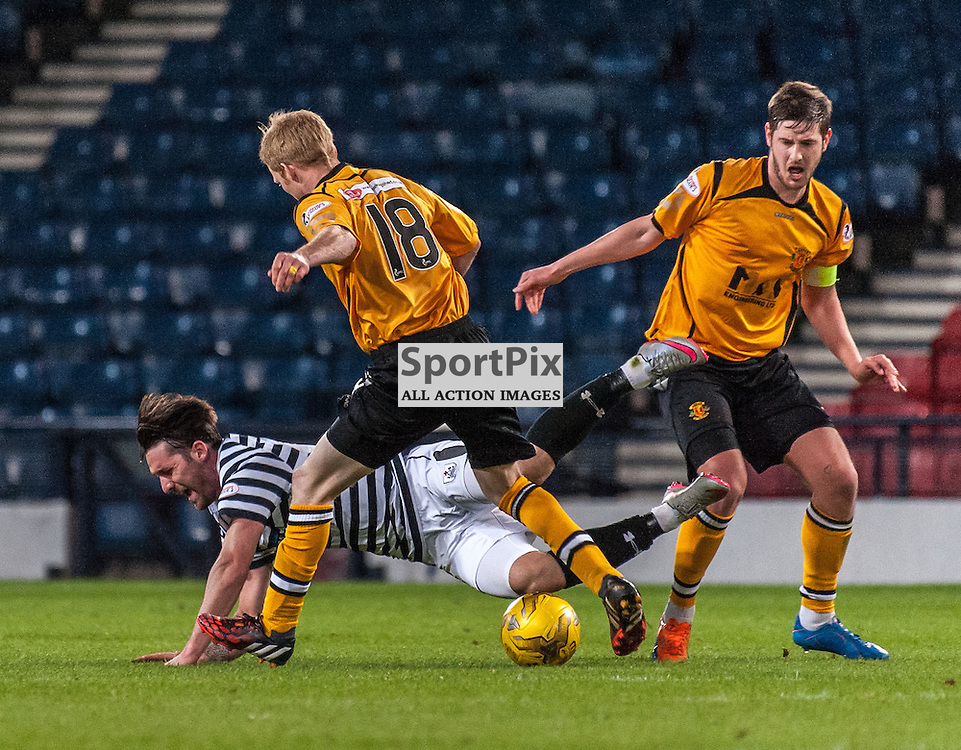 #9 Chris Duggan (Queen's Park) is felled by the Annan Athletic defence - Queen's Park v Annan Athletic - Ladbrokes League 2 - 15 March 2016 - © Russel Hutcheson | SportPix.org.uk
