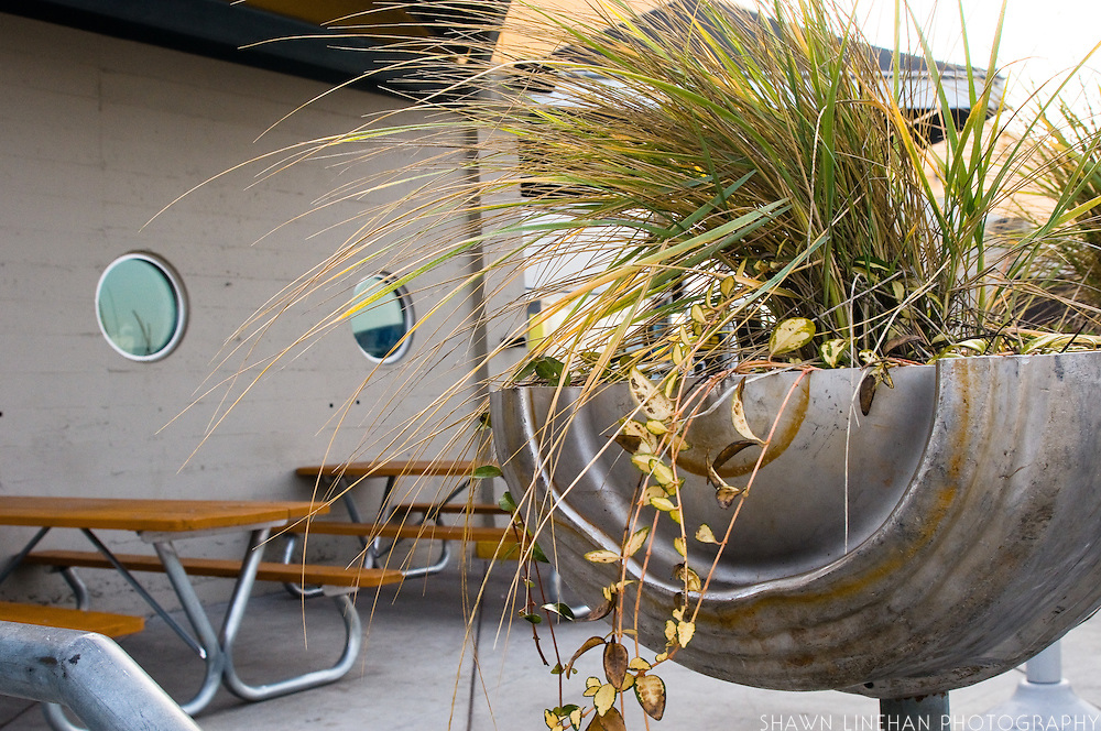 Hub used many sustainable features in renovating an old building. Old kegs sawed in half are used as planters.
