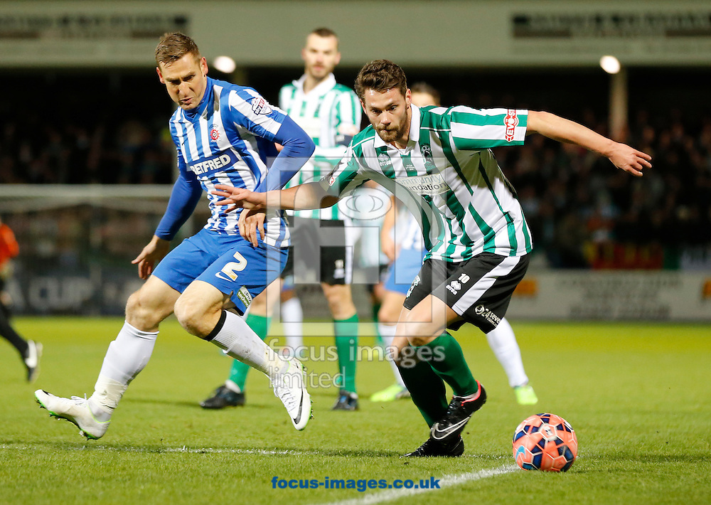 Neil Austin (l) of Hartlepool United and Matthew Wade of Blyth Spartans during the The FA Cup match at Victoria Park, Hartlepool<br /> Picture by Simon Moore/Focus Images Ltd 07807 671782<br /> 05/12/2014