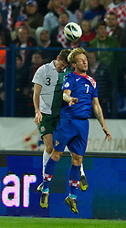 OSIJEK, CROATIA - Tuesday, October 16, 2012: Wales' Ben Davies in action against Croatia's Ivan Rakitic during the Brazil 2014 FIFA World Cup Qualifying Group A match at the Stadion Gradski Vrt. (Pic by David Rawcliffe/Propaganda)