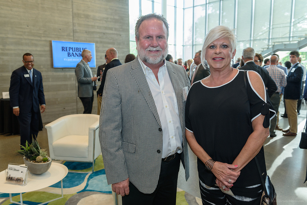 Tom and Rhonda Corrigan at the 10-year anniversary celebration of Republic Bank's Private Banking and Business Banking divisions Wednesday, May 17, 2017, at the Speed Art Museum in Louisville, Ky. (Photo by Brian Bohannon)
