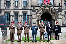 © Licensed to London News Pictures . 11/11/2018. Manchester , UK . Preparations are made ahead of a service of remembrance for those killed in war to be held at 11am at the Manchester Cenotaph in St Peter's Square , on the 100th anniversary of Armistice Day , marking the end of the First World War . Photo credit : Joel Goodman/LNP