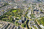 Nederland, Noord-Holland, Amsterdam, 27-09-2015; overzicht Oosterpark met onder in beeld Linnaeusstraat, rechst Mauritskade. Rechtsonder het Tropenmuseum (voorheen Koloniaal instituut).<br /> Oosterpark, East Park, Royal Tropical Institute<br /> <br /> luchtfoto (toeslag op standard tarieven);<br /> aerial photo (additional fee required);<br /> copyright foto/photo Siebe Swart