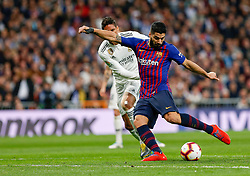 March 2, 2019 - Madrid, Spain - Real Madrid CF's Rapahel Varane and FC Barcelona's Luis Suarez during La Liga match between Real Madrid and FC  Barcelona at Santiago BernabÈu in Madrid..Final Score: Real Madrid 0 - 1 FC Barcelona (Credit Image: © Manu Reino/SOPA Images via ZUMA Wire)