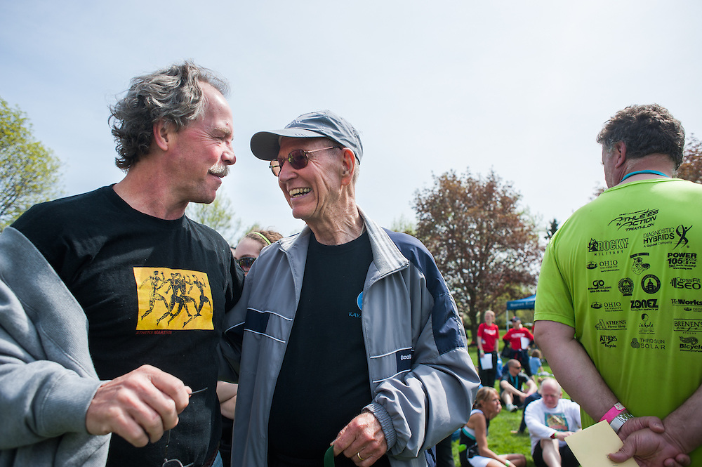 Thomas Murray (left) congratulates Jack Turner (right) on winning first place in the Mens 75 and over category of the Race for a Reason 5k. Photo by: Ross Brinkerhoff. Race for a Reason, Race 4 A Reason, Annual Events, Events, Students, Faculty & Staff