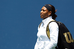 July 31, 2011; Stanford, CA, USA;  Serena Williams (USA) enters the court before her match against Marion Bartoli (FRA), not pictured, during the finals of the Bank of the West Classic women's tennis tournament at the Taube Family Tennis Stadium.