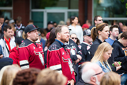 The arrival of the Memorial Cup before the 2016 MasterCard Memorial Cup tournament in Red Deer, AB on Thursday May 19, 2016. Photo by Rob Wallator/CHL Images