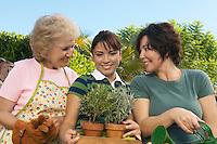 Portrait of three women gardening