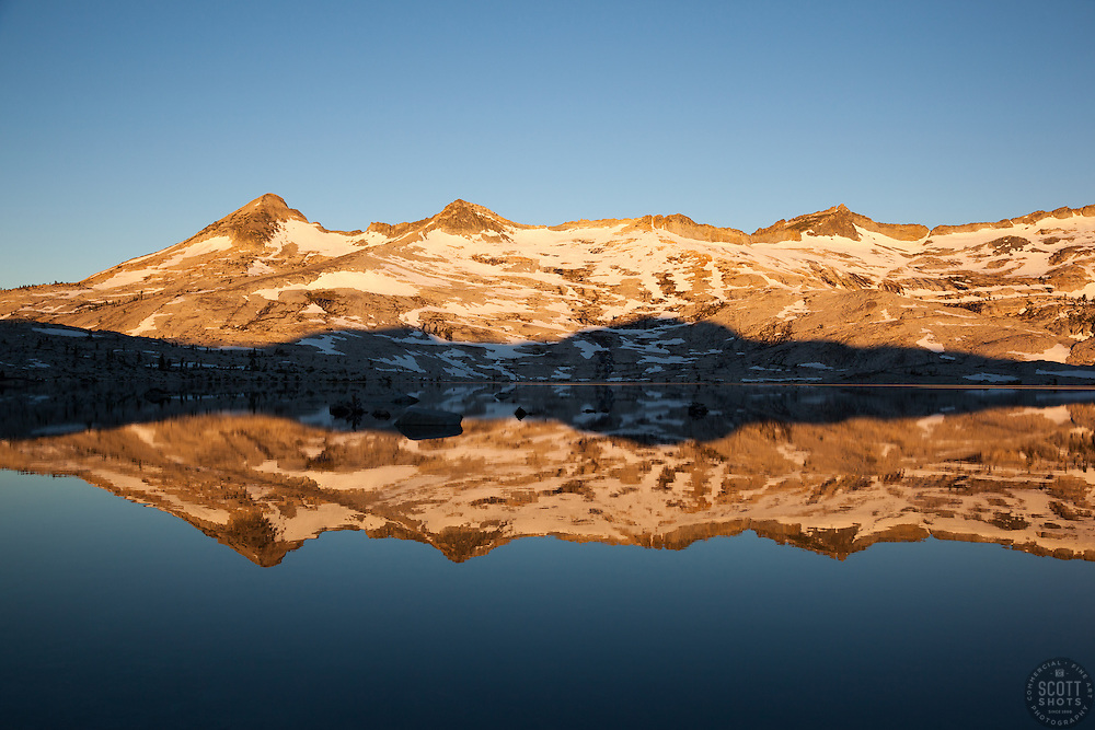"""Lake Aloha Reflection 4"" - These mountains and their reflection were photographed at sunrise at Lake Aloha, in the Tahoe Desolation Wilderness."