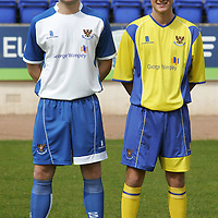 St Johnstone FC announce new kit & sponsorship deal...17.05.07<br /> Pictured from left, Kevin Rutkiewicz wears the new home strip andWillie Dyer wearing the new away strip.<br /> see story by Gordon Bannerman Tel: 01738 553978 or 07729 865788<br /> Picture by Graeme Hart.<br /> Copyright Perthshire Picture Agency<br /> Tel: 01738 623350  Mobile: 07990 594431
