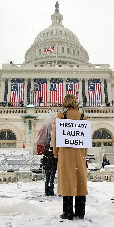 Jamie Nick, school teacher from Warrington, VA, stands in for Laura Bush, during a rehershal of tomorrow's Inauguration of United States President George W. Bush in Washington DC Wednesday 19 January 2005.