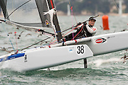 Glenn Ashby (AUS111), race seven of the A Class World championships regatta being sailed at Takapuna in Auckland. 15/2/2014