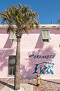 The Breakers bar and restaurant at Flagler Avenue beach and boardwalk in New Smyrna Beach, Florida.