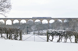 Licensed to London News Pictures 28/01/2018<br /> A train passes over Crimple Valley Viaduct just south of Harrogate, North Yorkshire<br /> Photo Credit: Sam Atkins/LNP