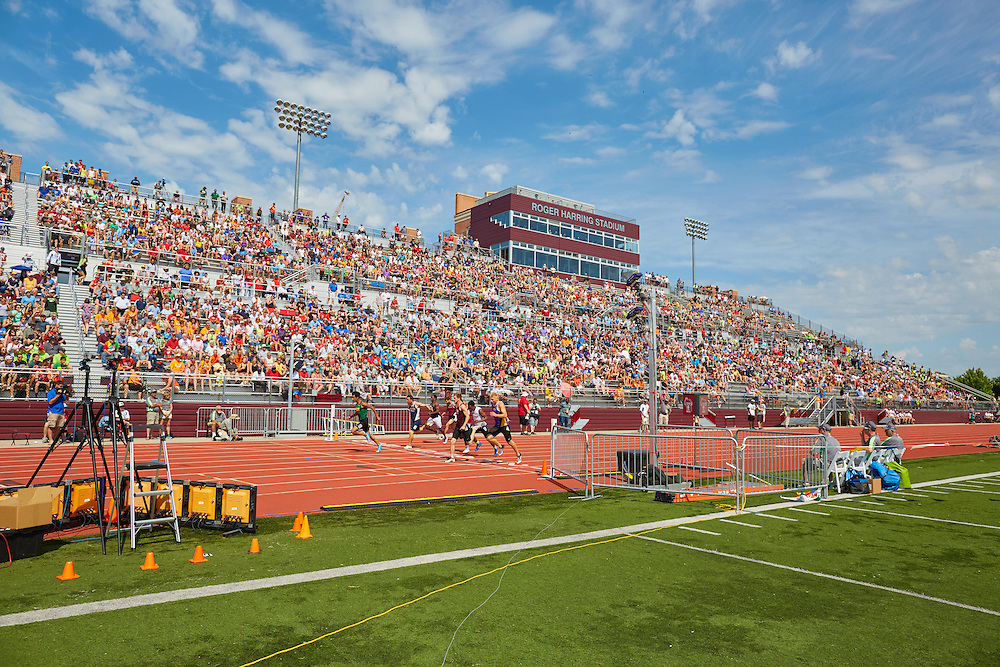 Buildings; Roger Harring Stadium; Location; Outside; People; Student Students; Spring; Summer; June; Time/Weather; day; Type of Photography; Candid; UWL UW-L UW-La Crosse University of Wisconsin-La Crosse; 2016 State WIAA Track Meet; Track and Field