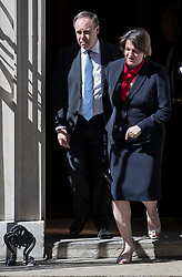 © Licensed to London News Pictures. 02/07/2018. London, UK. DUP Leader Arlene Foster walks from Number 10 with Nigel Dodds MP after talks with Prime Minister Theresa May. Photo credit: Peter Macdiarmid/LNP