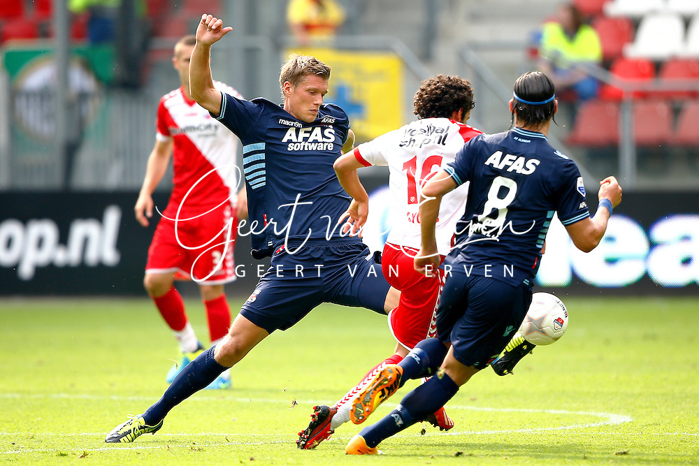 Onderwerp/Subject: FC Utrecht - AZ Alkmaar - Eredivisie<br /> Reklame:  <br /> Club/Team/Country: <br /> Seizoen/Season: 2013/2014<br /> FOTO/PHOTO: Yassine AYOUB (C) of FC Utrecht in duel with Viktor ELM ( Viktor Sebastian ELM ) (L) of AZ Alkmaar and Nemanja GUDELJ (R) of AZ Alkmaar. (Photo by PICS UNITED)<br /> <br /> Trefwoorden/Keywords: <br /> #04 $94 &plusmn;1371811811150<br /> Photo- &amp; Copyrights &copy; PICS UNITED <br /> P.O. Box 7164 - 5605 BE  EINDHOVEN (THE NETHERLANDS) <br /> Phone +31 (0)40 296 28 00 <br /> Fax +31 (0) 40 248 47 43 <br /> http://www.pics-united.com <br /> e-mail : sales@pics-united.com (If you would like to raise any issues regarding any aspects of products / service of PICS UNITED) or <br /> e-mail : sales@pics-united.com   <br /> <br /> ATTENTIE: <br /> Publicatie ook bij aanbieding door derden is slechts toegestaan na verkregen toestemming van Pics United. <br /> VOLLEDIGE NAAMSVERMELDING IS VERPLICHT! (&copy; PICS UNITED/Naam Fotograaf, zie veld 4 van de bestandsinfo 'credits') <br /> ATTENTION:  <br /> &copy; Pics United. Reproduction/publication of this photo by any parties is only permitted after authorisation is sought and obtained from  PICS UNITED- THE NETHERLANDS
