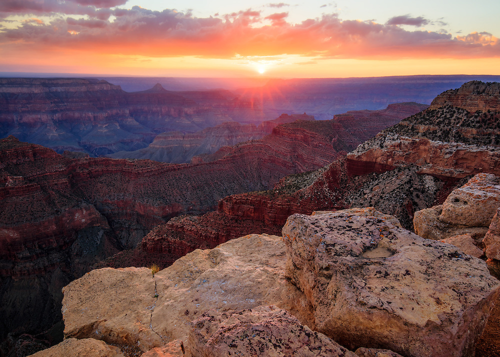 Sunset from Point Sublime on the North Rim of Grand Canyon National Park.