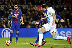 December 17, 2017 - Barcelona, Catalonia, Spain - Leo Messi and Luis Suarez during the La Liga match between FC Barcelona v Real Club Deportivo de La Coruna, in Barcelona, on December 17, 2017. (Credit Image: © Joan Valls/NurPhoto via ZUMA Press)