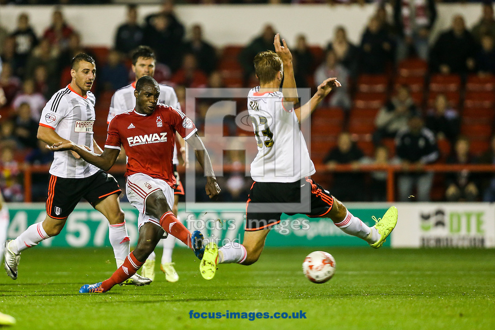 Michail Antonio of Nottingham Forest (centre) scores during the Sky Bet Championship match at the City Ground, Nottingham<br /> Picture by Andy Kearns/Focus Images Ltd 0781 864 4264<br /> 17/09/2014