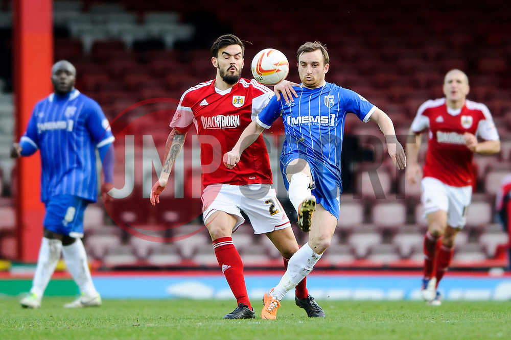 Bristol City Midfielder Marlon Pack (ENG) challenges Gillingham Midfielder Charlie Lee (ENG) - Photo mandatory by-line: Rogan Thomson/JMP - 07966 386802 - 01/03/2014 - SPORT - FOOTBALL - Ashton Gate, Bristol - Bristol City v Gillingham - Sky Bet League One.